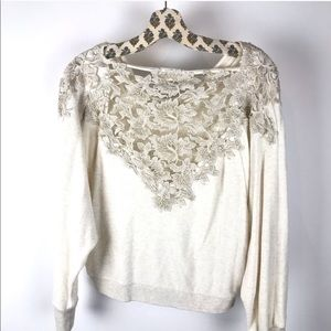 Meadow Rue Anthropologie White Bria Lace Sweater